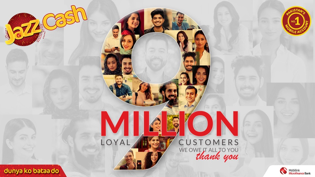 Pakistan's No. 1 and Fastest Growing Mobile Account Crosses 9 Million Monthly Active Users!