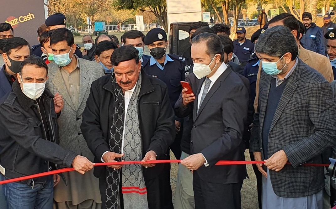 Interior Minister Sheikh Rashid inaugurates the Jazz Drive-In Cinema